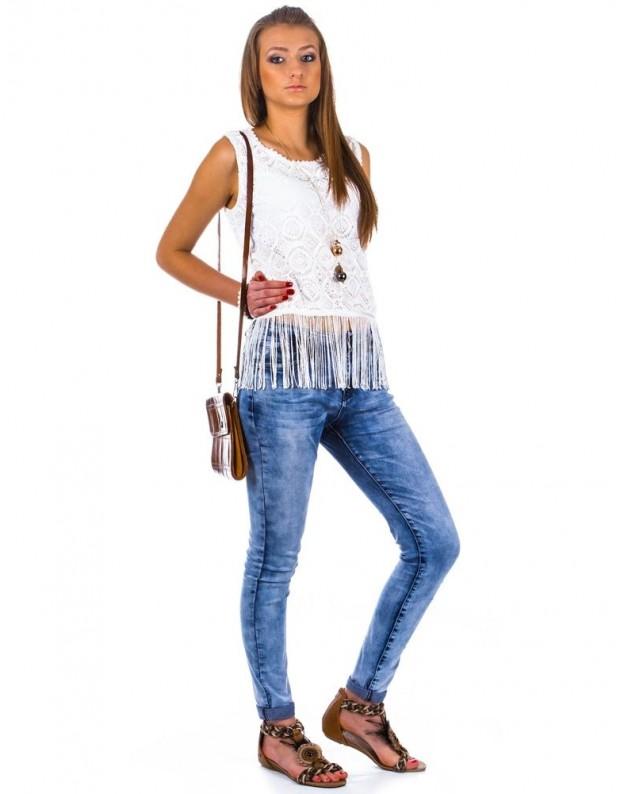 Moteriški marškinėliai su kutais (Balti)