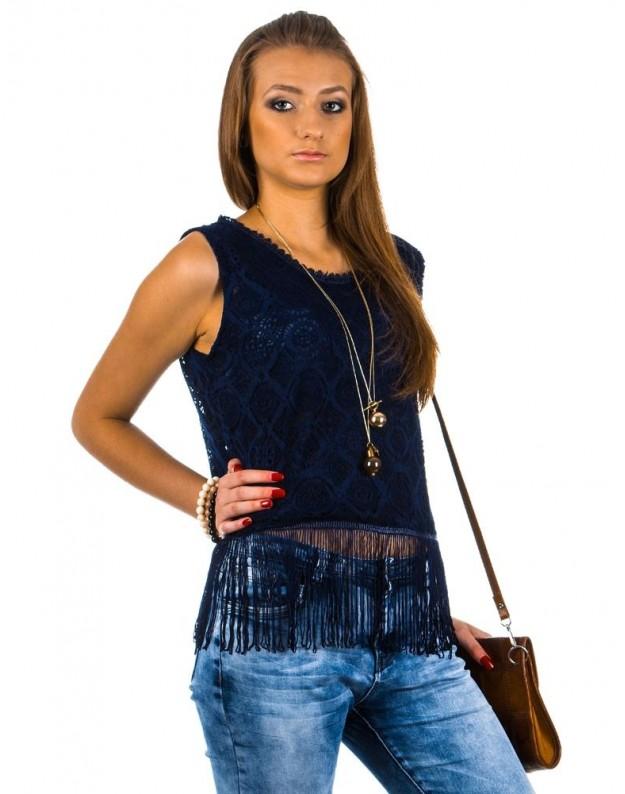 Moteriški marškinėliai su kutais (Mėlyni)