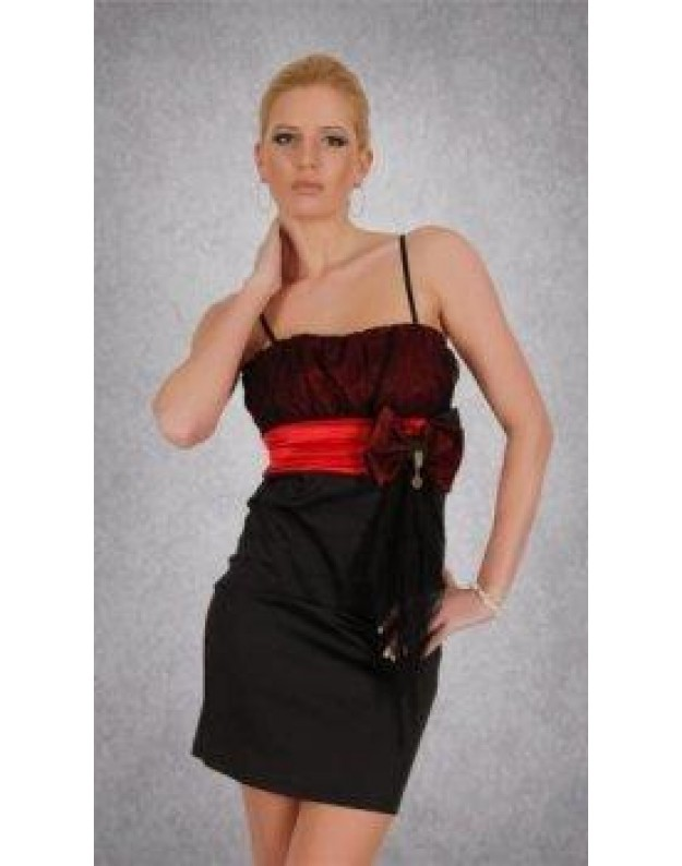 Suknelė su kaspinu (Juoda-Raudona)