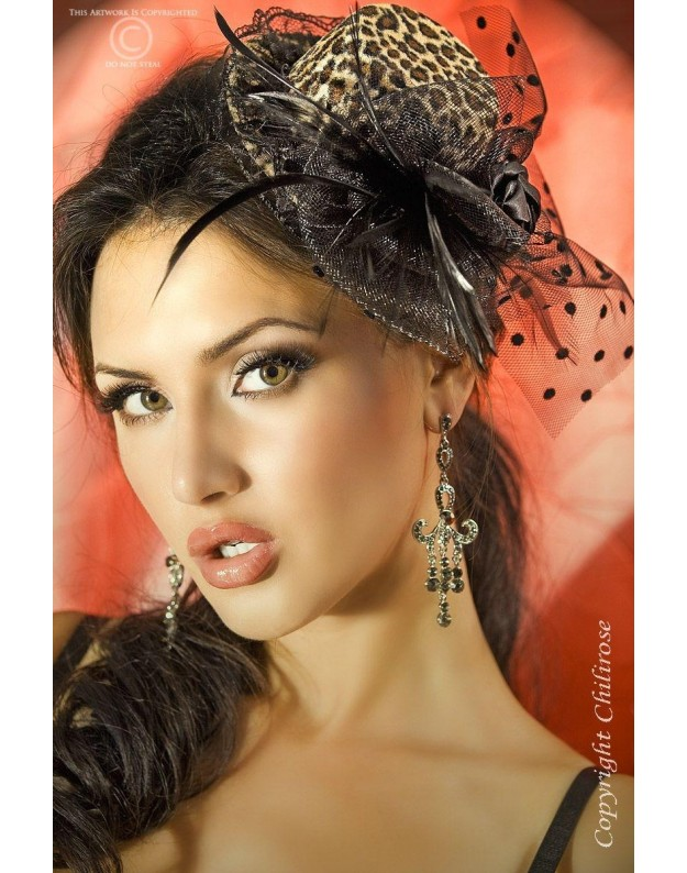 Kepuraitė su plunksnomis ir tinkleliu Pantera