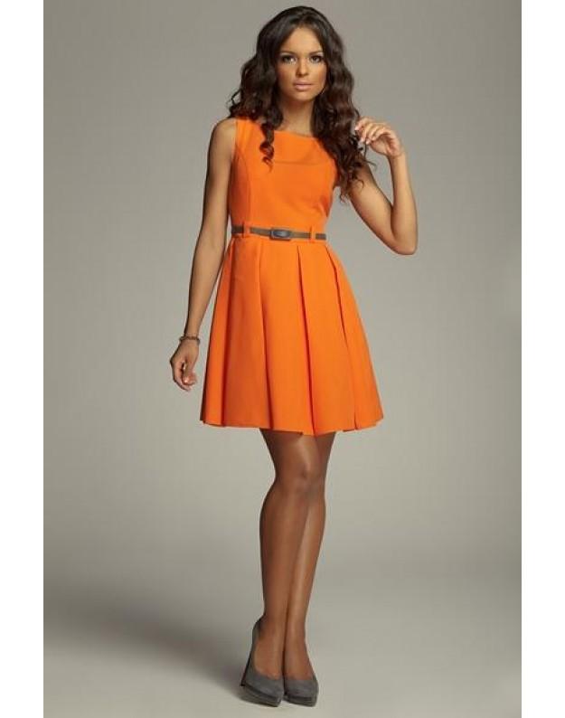 Žavi suknelė su klostėmis (Oranžinė)
